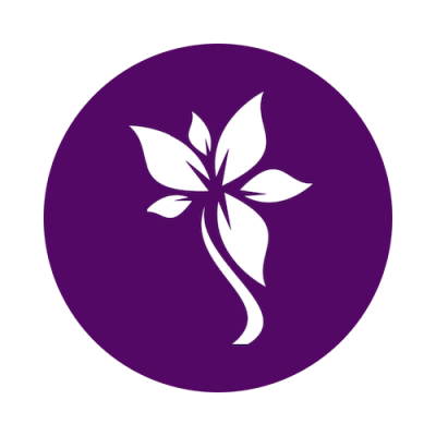 White flower in purple circle iSkinPure logo