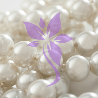 Purple flower iSkinPure clinic logo element on pearls background