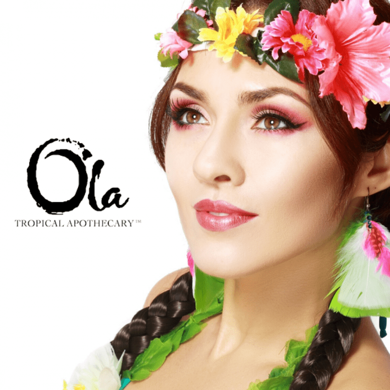Woman with floral wreath on her head. Ola tropical apothecary
